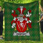 1sttheworld Premium Quilt - Dempsey Or O'Dempsey Irish Family Crest Quilt - Irish National Tartan A7