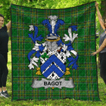 1sttheworld Premium Quilt - Bagot Irish Family Crest Quilt - Irish National Tartan A7