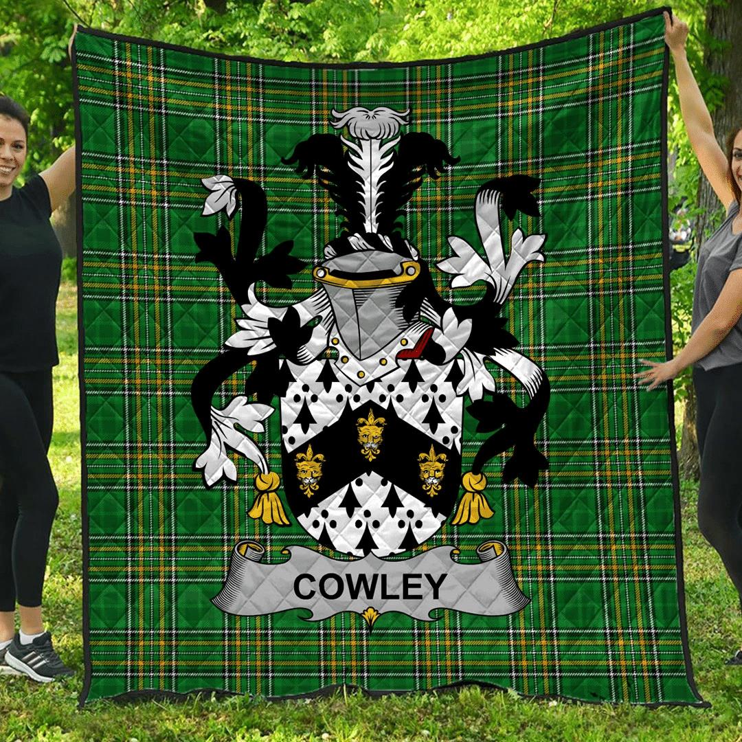 1sttheworld Premium Quilt - Cowley Or Cooley Irish Family Crest Quilt - Irish National Tartan A7