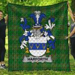 1sttheworld Premium Quilt - Harforth Irish Family Crest Quilt - Irish National Tartan A7