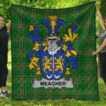 1sttheworld Premium Quilt - Meagher Or O'Maher Irish Family Crest Quilt - Irish National Tartan A7