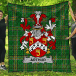 1sttheworld Premium Quilt - Arthur Irish Family Crest Quilt - Irish National Tartan A7
