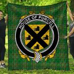 1sttheworld Premium Quilt - House Of Purcell Irish Family Crest Quilt - Irish National Tartan A7