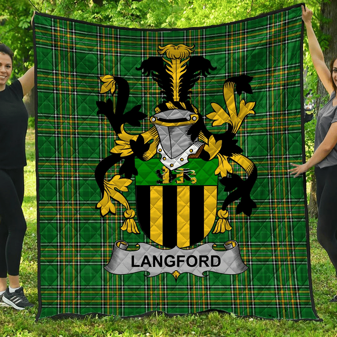 1sttheworld Premium Quilt - Langford Irish Family Crest Quilt - Irish National Tartan A7