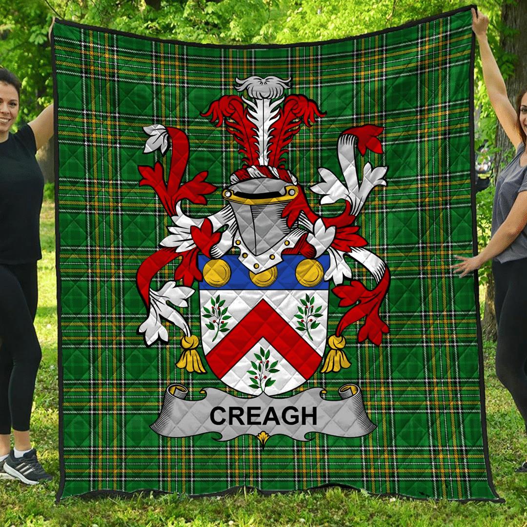 1sttheworld Premium Quilt - Creagh Irish Family Crest Quilt - Irish National Tartan A7