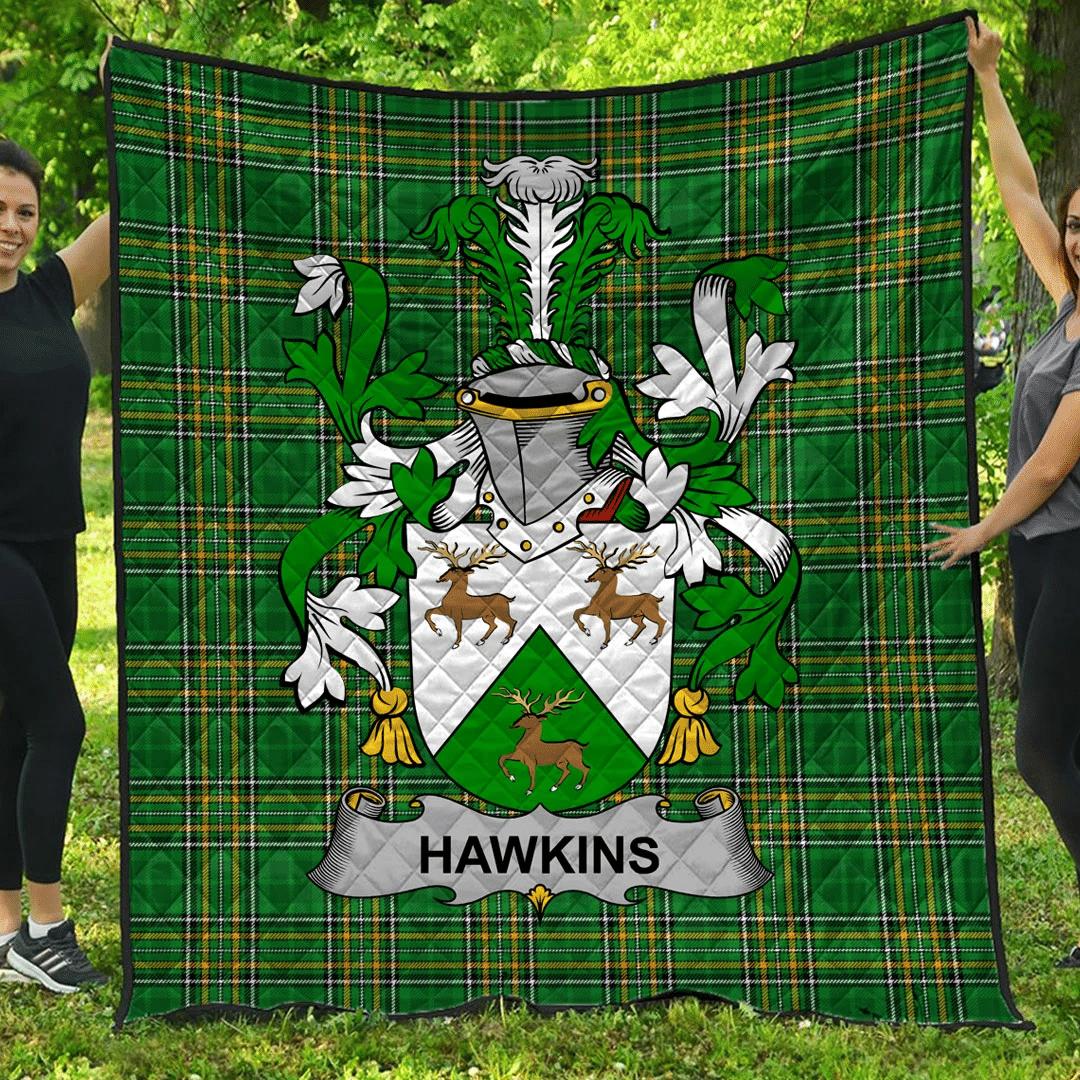 1sttheworld Premium Quilt - Hawkins Or Haughan Irish Family Crest Quilt - Irish National Tartan A7