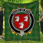 1sttheworld Premium Quilt - House Of Ryan (O'Mulrian) Irish Family Crest Quilt - Irish National Tartan A7