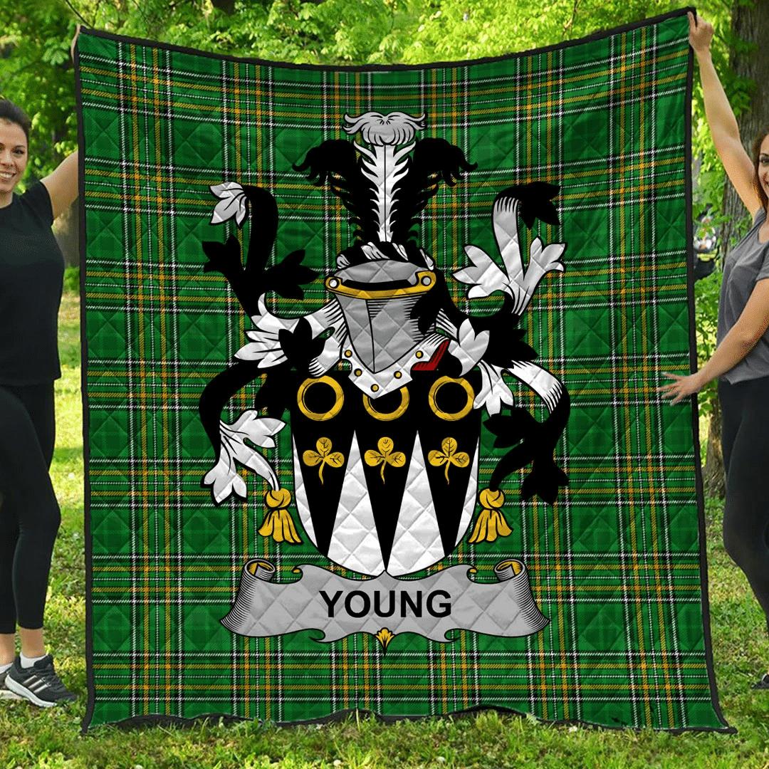 1sttheworld Premium Quilt - Young Irish Family Crest Quilt - Irish National Tartan A7