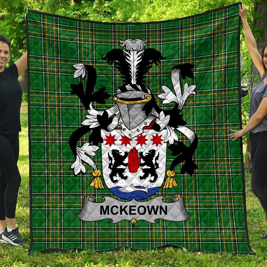 1sttheworld Premium Quilt - Mckeown Irish Family Crest Quilt - Irish National Tartan A7