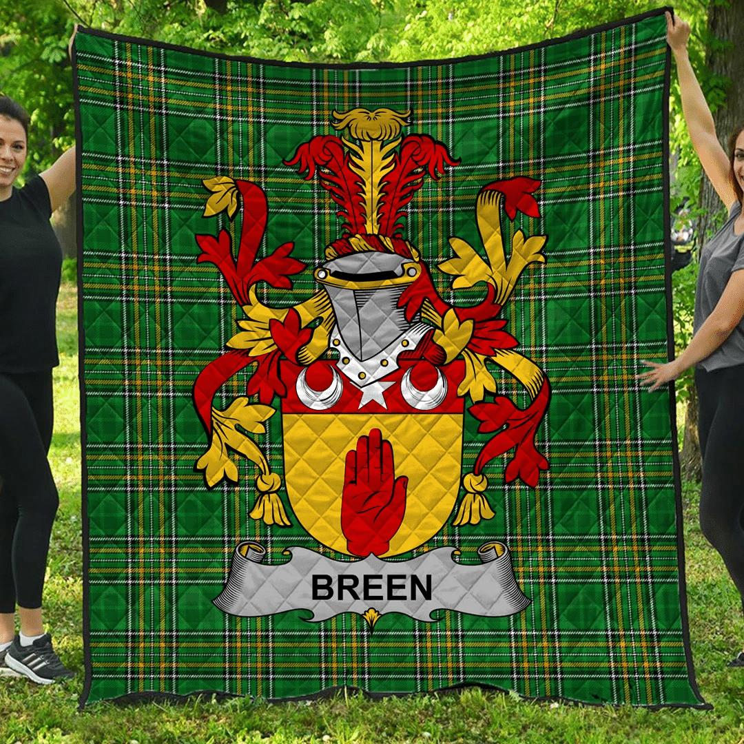 1sttheworld Premium Quilt - Breen Or O'Breen Irish Family Crest Quilt - Irish National Tartan A7