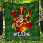 1sttheworld Premium Quilt - Dorney Or O'Dorney Irish Family Crest Quilt - Irish National Tartan A7