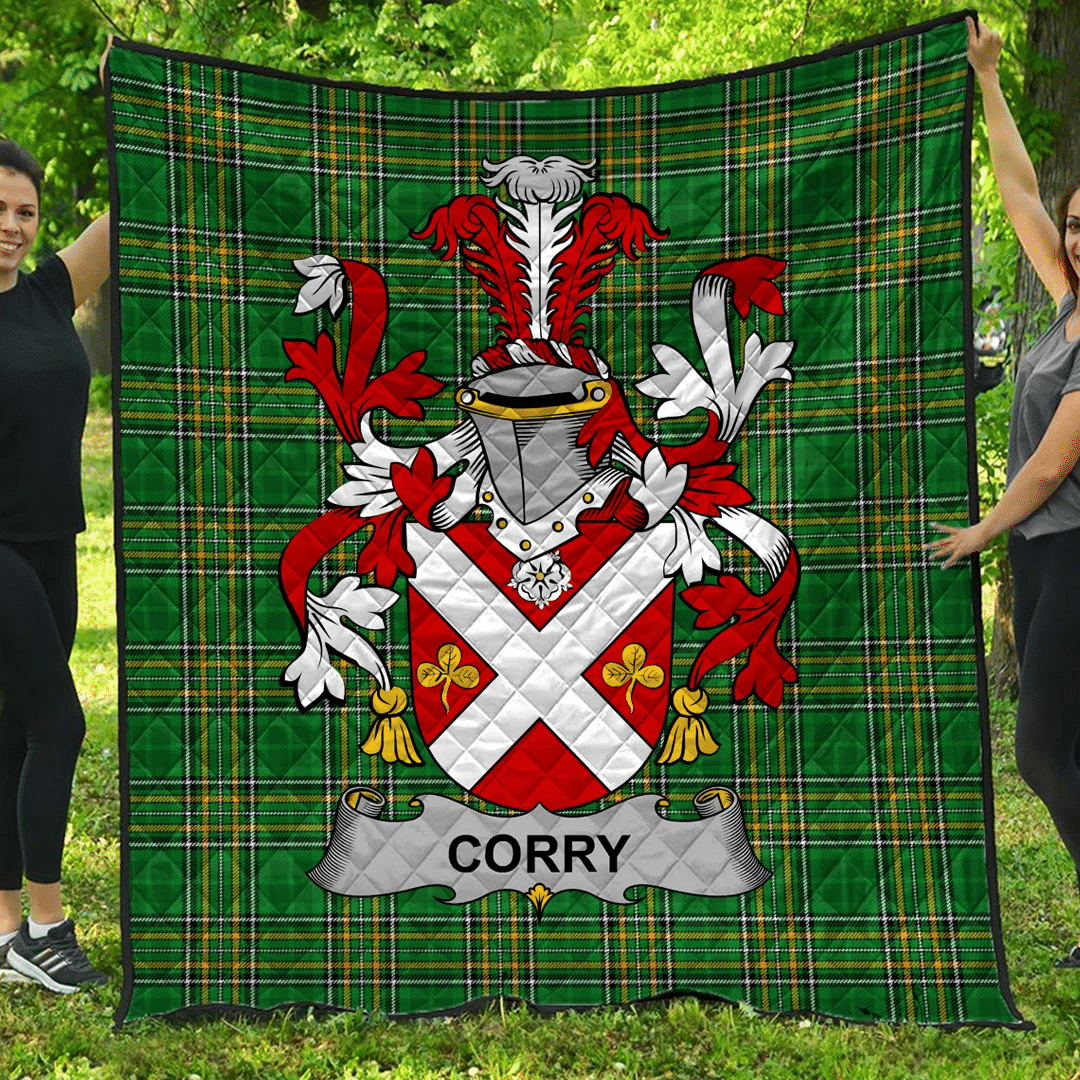 1sttheworld Premium Quilt - Corry Or O'Corry Irish Family Crest Quilt - Irish National Tartan A7