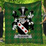 1sttheworld Premium Quilt - Gleeson Or O'Glissane Irish Family Crest Quilt - Irish National Tartan A7
