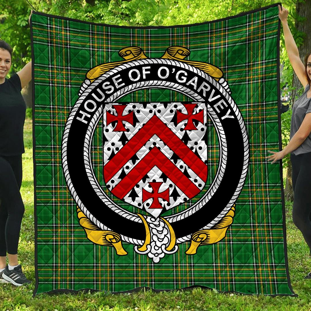 1sttheworld Premium Quilt - House Of O'Garvey Irish Family Crest Quilt - Irish National Tartan A7