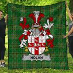 1sttheworld Premium Quilt - Nolan Or O'Nowlan Irish Family Crest Quilt - Irish National Tartan A7
