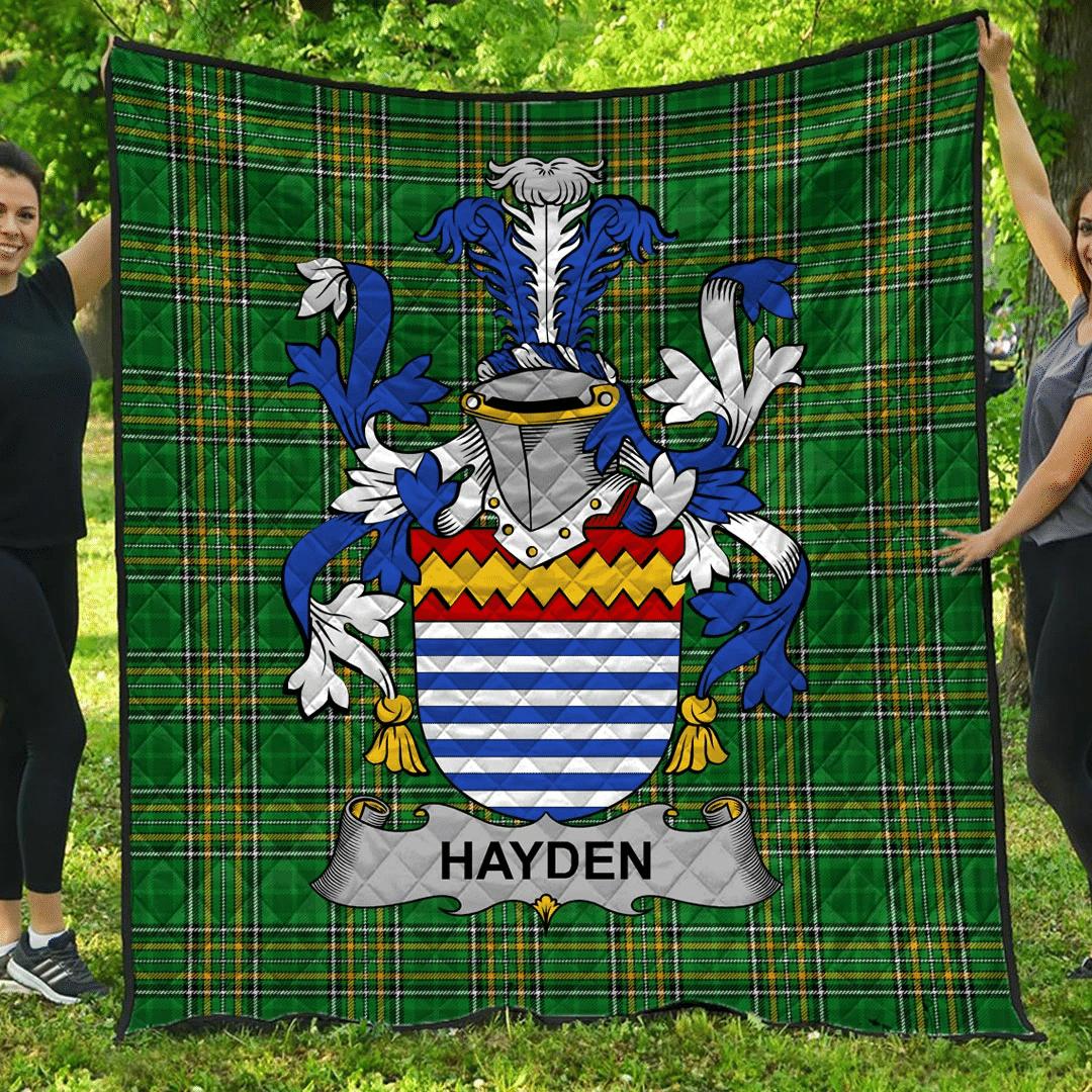1sttheworld Premium Quilt - Hayden Or O'Hayden Irish Family Crest Quilt - Irish National Tartan A7