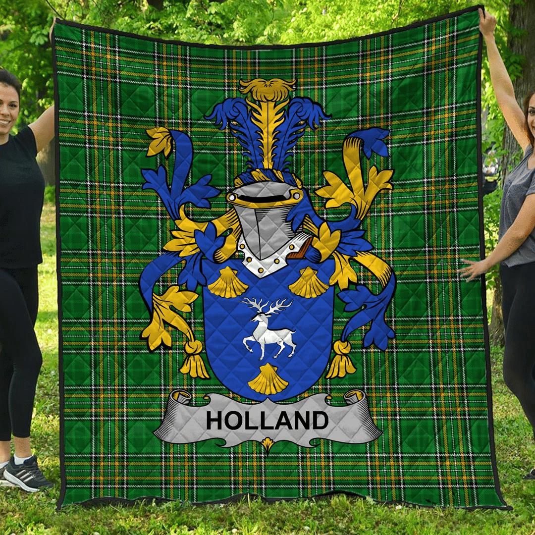 1sttheworld Premium Quilt - Holland Irish Family Crest Quilt - Irish National Tartan A7