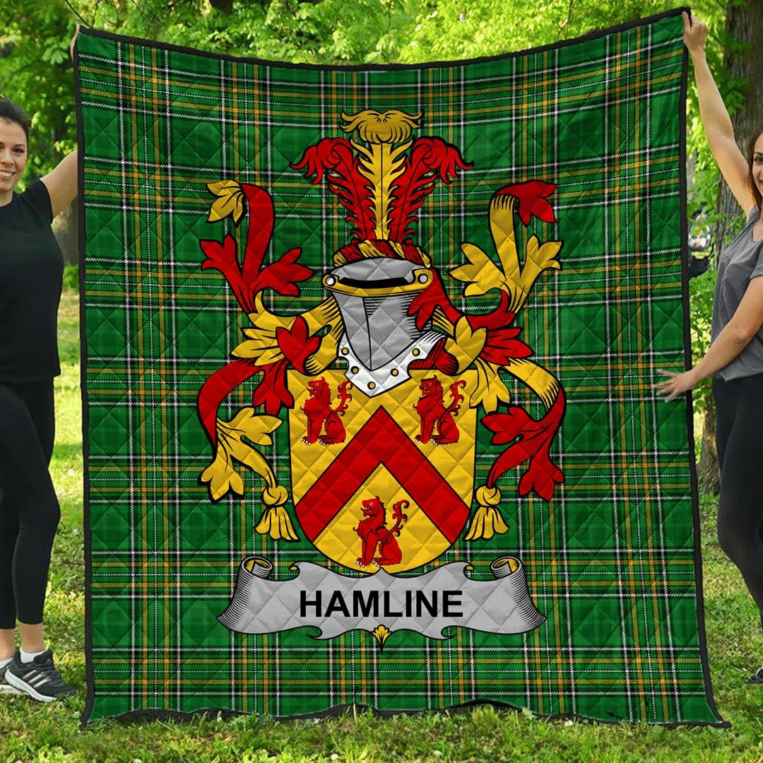 1sttheworld Premium Quilt - Hamline Irish Family Crest Quilt - Irish National Tartan A7