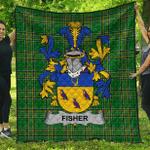 1sttheworld Premium Quilt - Fisher Irish Family Crest Quilt - Irish National Tartan A7