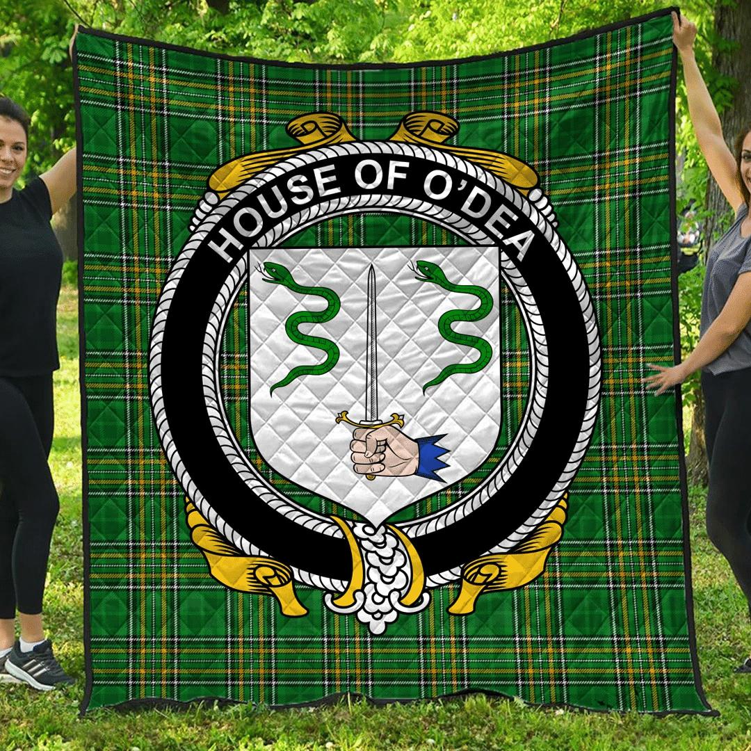 1sttheworld Premium Quilt - House Of O'Dea Irish Family Crest Quilt - Irish National Tartan A7