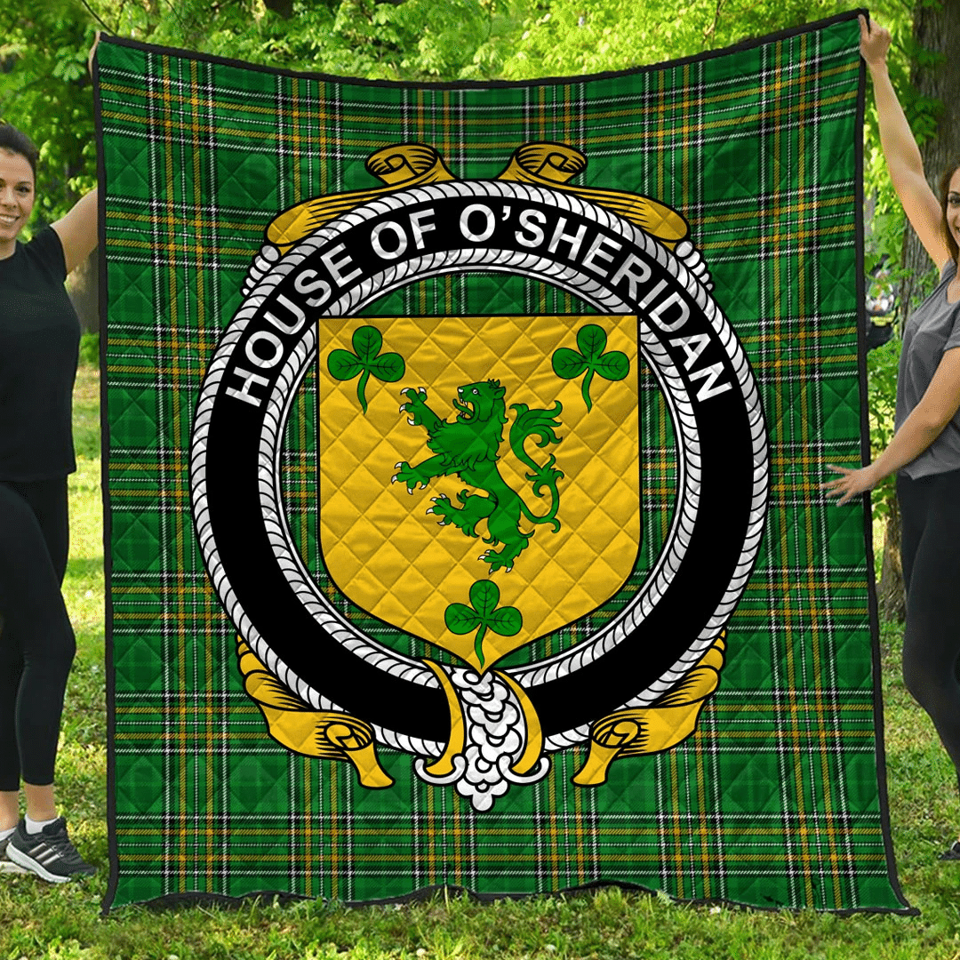 1sttheworld Premium Quilt - House Of O'Sheridan Irish Family Crest Quilt - Irish National Tartan A7
