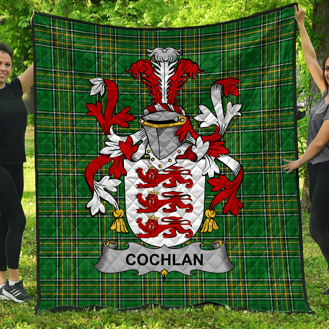 1sttheworld Premium Quilt - Cochlan Or Mccoughlan Irish Family Crest Quilt - Irish National Tartan A7
