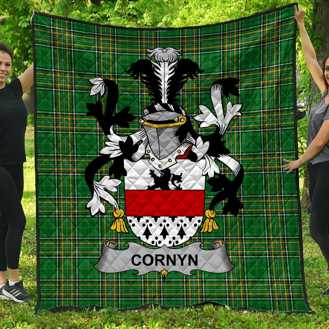 1sttheworld Premium Quilt - Cornyn Or O'Cornyn Irish Family Crest Quilt - Irish National Tartan A7