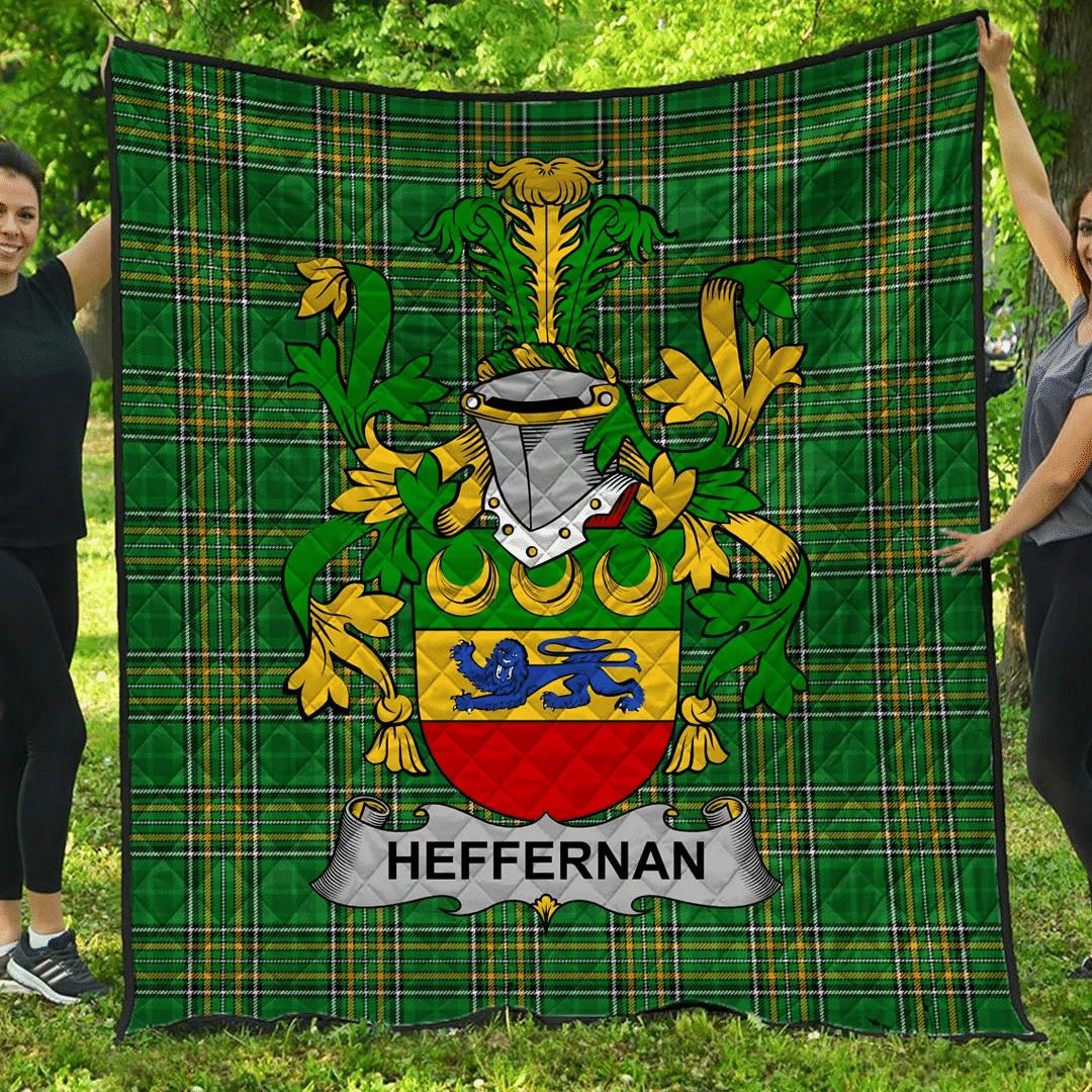 1sttheworld Premium Quilt - Heffernan Or O'Heffernan Irish Family Crest Quilt - Irish National Tartan A7