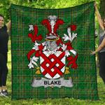 1sttheworld Premium Quilt - Blake Irish Family Crest Quilt - Irish National Tartan A7