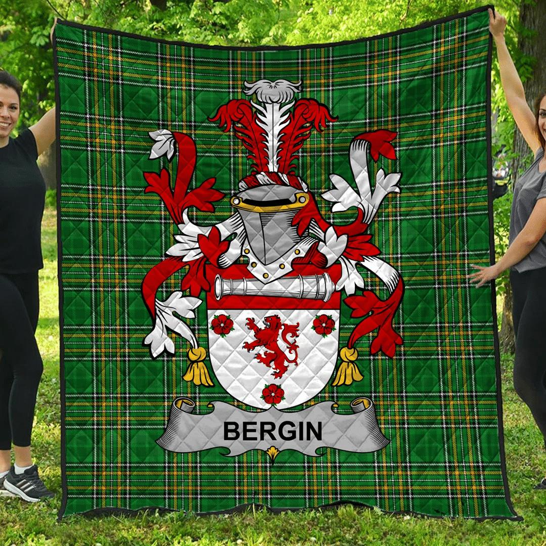 1sttheworld Premium Quilt - Bergin Or O'Bergin Irish Family Crest Quilt - Irish National Tartan A7