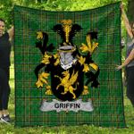 1sttheworld Premium Quilt - Griffin Or O'Griffy Irish Family Crest Quilt - Irish National Tartan A7