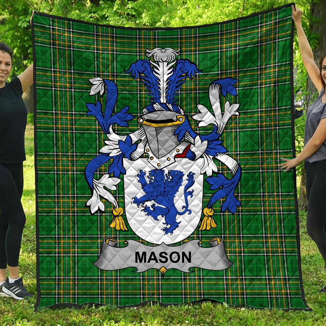 1sttheworld Premium Quilt - Mason Irish Family Crest Quilt - Irish National Tartan A7