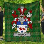 1sttheworld Premium Quilt - Trench Irish Family Crest Quilt - Irish National Tartan A7