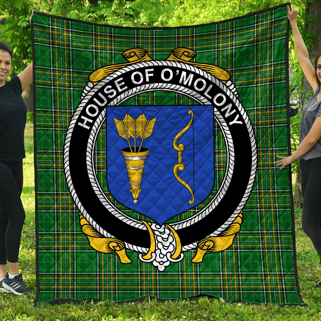 1sttheworld Premium Quilt - House Of O'Molony Irish Family Crest Quilt - Irish National Tartan A7