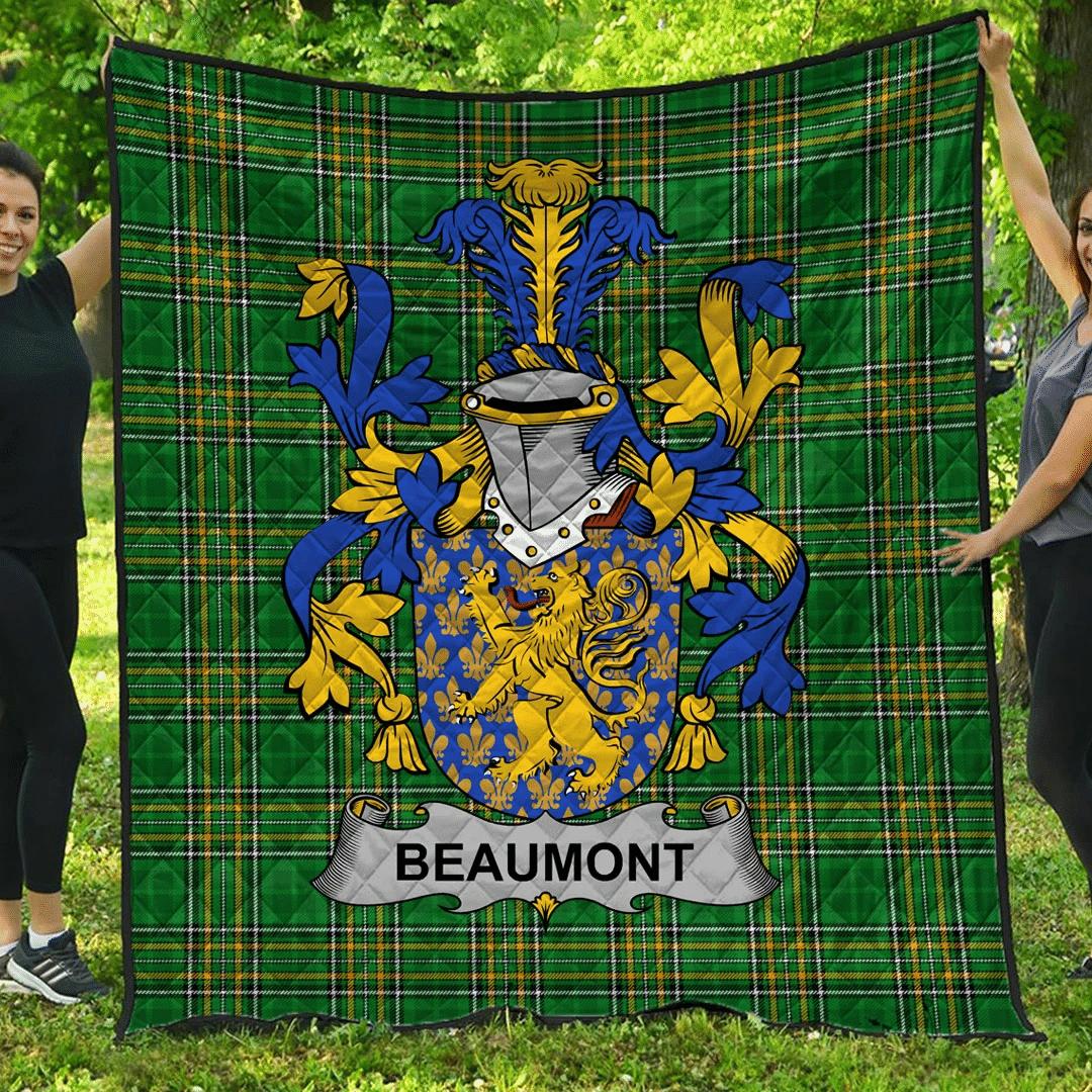 1sttheworld Premium Quilt - Beaumont Irish Family Crest Quilt - Irish National Tartan A7