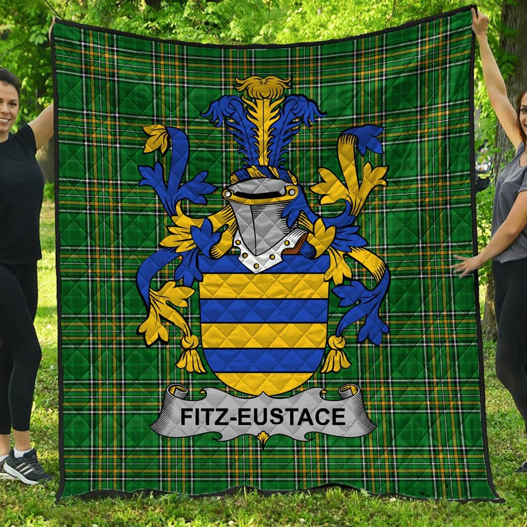1sttheworld Premium Quilt - Fitz-Eustace Irish Family Crest Quilt - Irish National Tartan A7