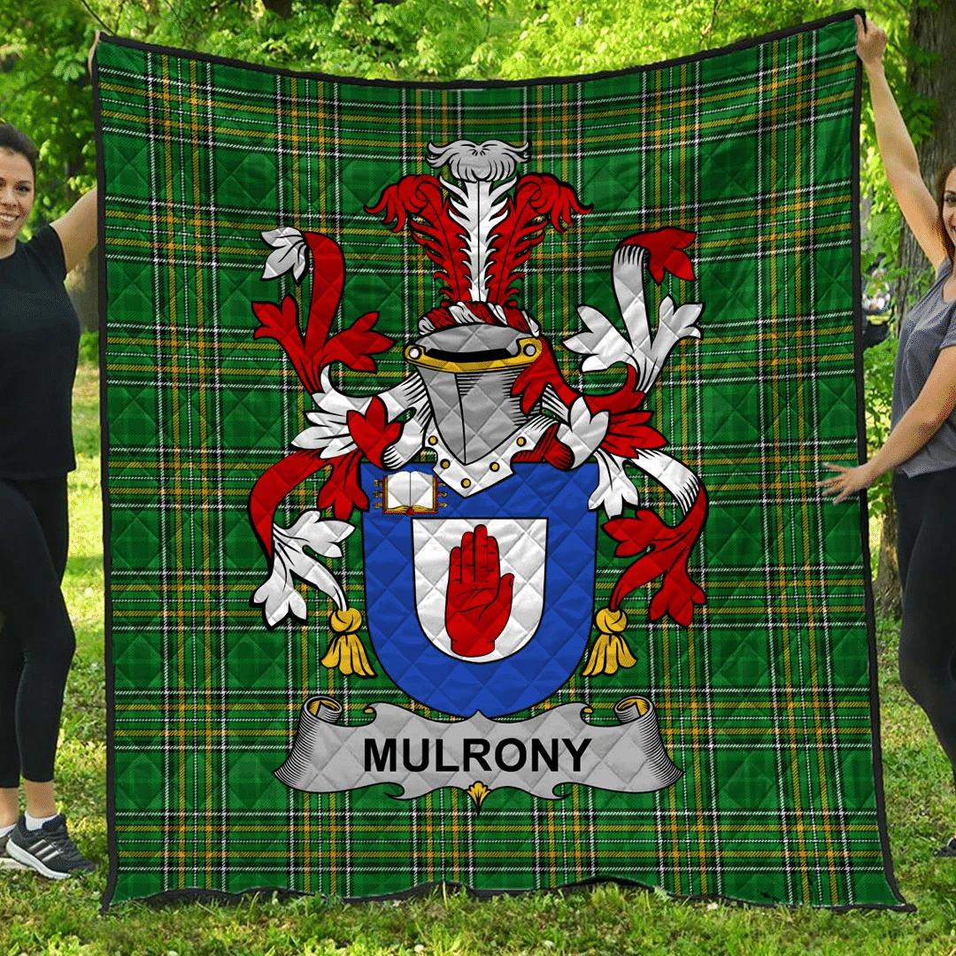 1sttheworld Premium Quilt - Mulrony Or O'Mulroney Irish Family Crest Quilt - Irish National Tartan A7
