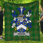 1sttheworld Premium Quilt - Hodge Irish Family Crest Quilt - Irish National Tartan A7