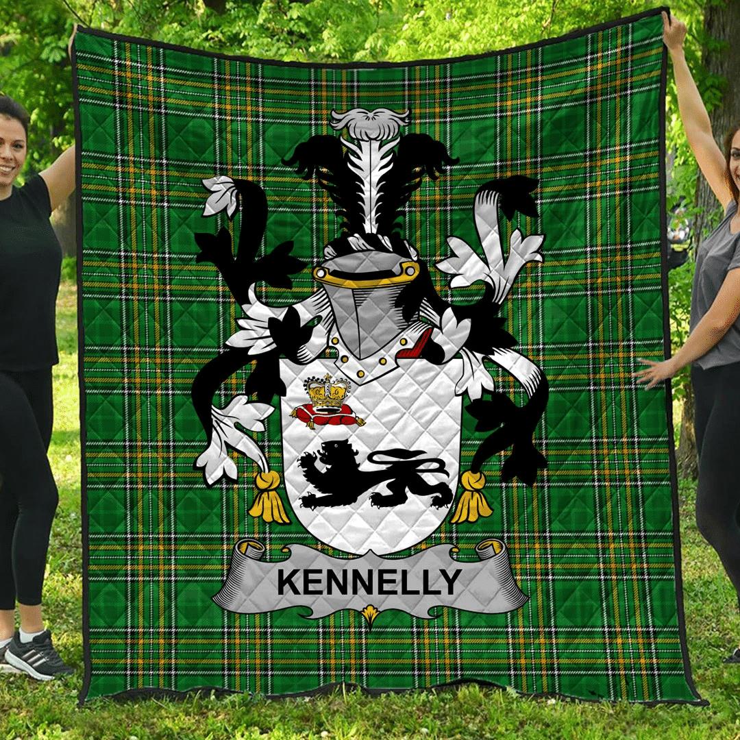 1sttheworld Premium Quilt - Kennelly Or O'Kineally Irish Family Crest Quilt - Irish National Tartan A7