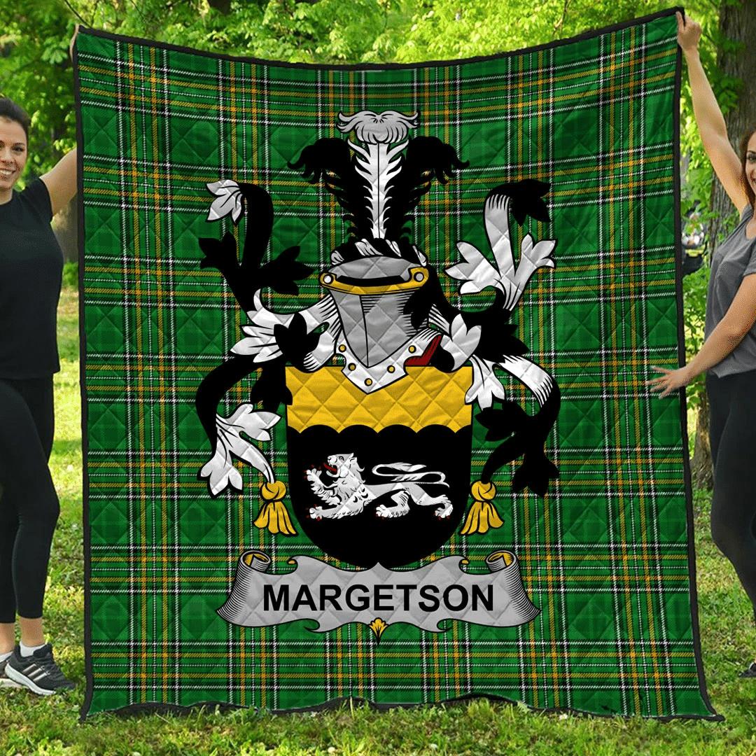 1sttheworld Premium Quilt - Margetson Irish Family Crest Quilt - Irish National Tartan A7