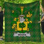 1sttheworld Premium Quilt - Woods Irish Family Crest Quilt - Irish National Tartan A7
