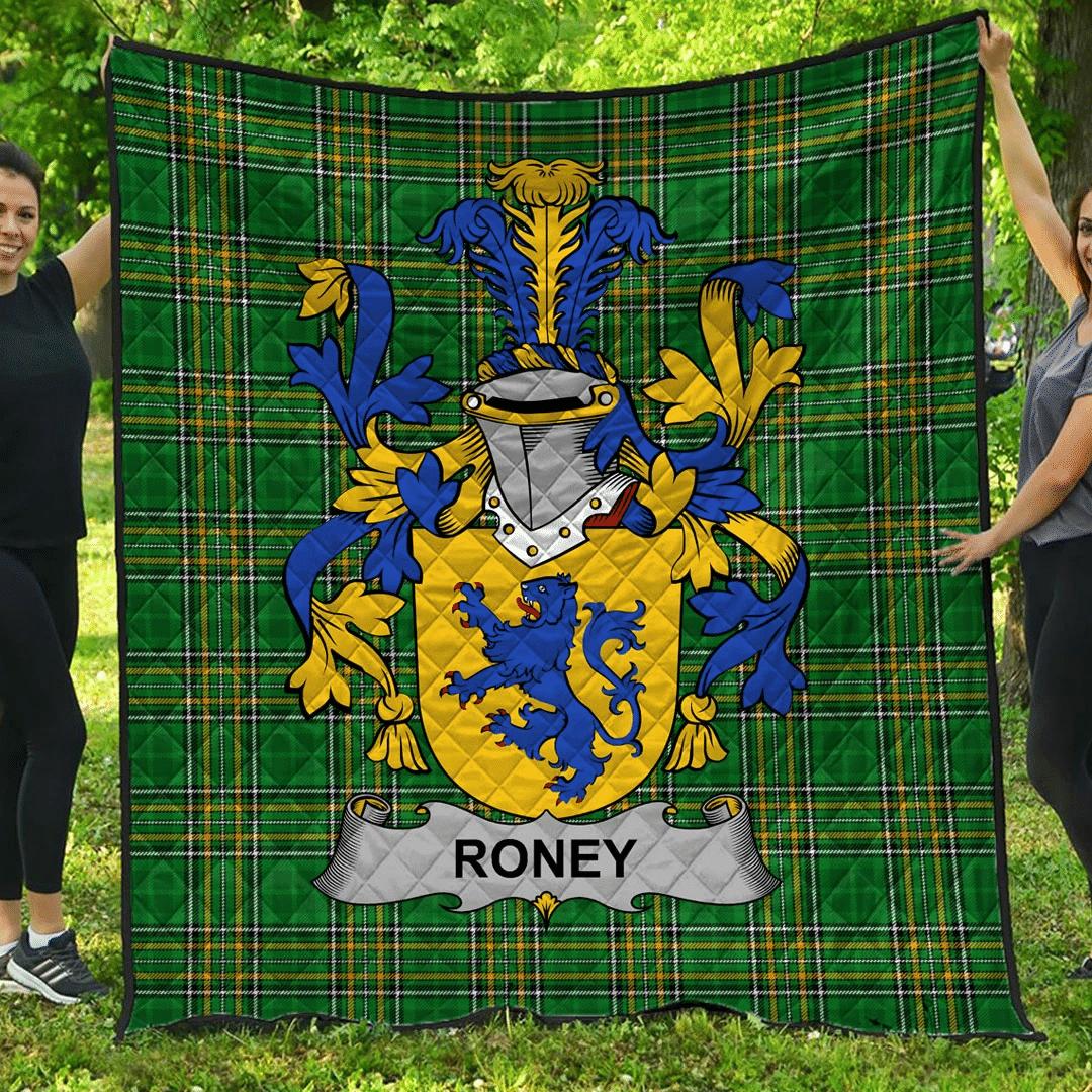 1sttheworld Premium Quilt - Roney Or O'Rooney Irish Family Crest Quilt - Irish National Tartan A7