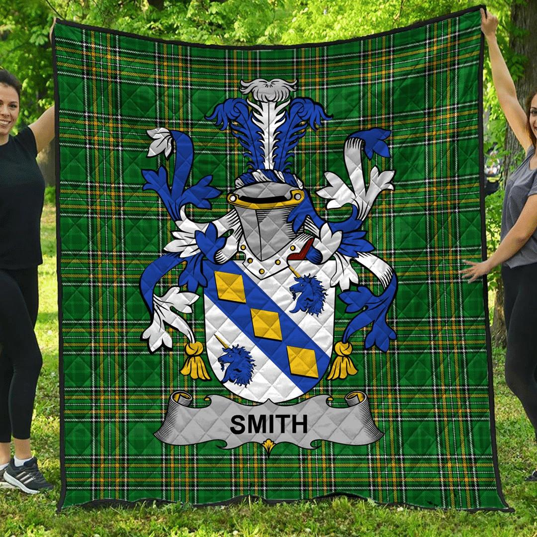 1sttheworld Premium Quilt - Smith Or Smyth Irish Family Crest Quilt - Irish National Tartan A7