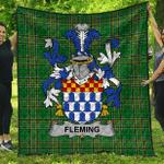 1sttheworld Premium Quilt - Fleming Irish Family Crest Quilt - Irish National Tartan A7