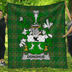 1sttheworld Premium Quilt - Donohue Or O'Donohue Irish Family Crest Quilt - Irish National Tartan A7