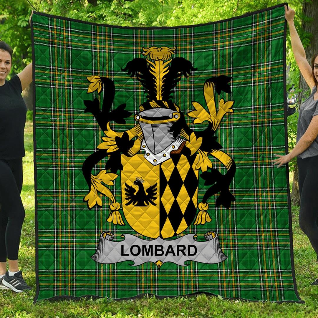 1sttheworld Premium Quilt - Lombard Irish Family Crest Quilt - Irish National Tartan A7
