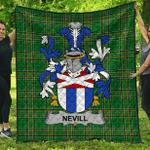 1sttheworld Premium Quilt - Nevill Or Neville Irish Family Crest Quilt - Irish National Tartan A7
