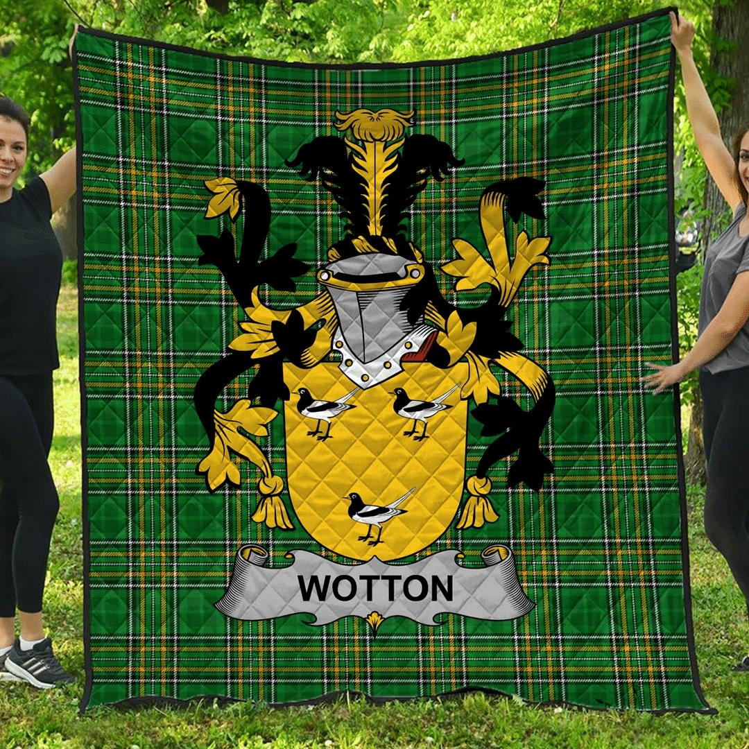 1sttheworld Premium Quilt - Wotton Irish Family Crest Quilt - Irish National Tartan A7