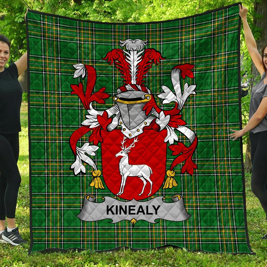 1sttheworld Premium Quilt - Kinealy Or O'Kinnally Irish Family Crest Quilt - Irish National Tartan A7