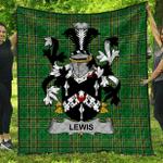 1sttheworld Premium Quilt - Lewis Irish Family Crest Quilt - Irish National Tartan A7